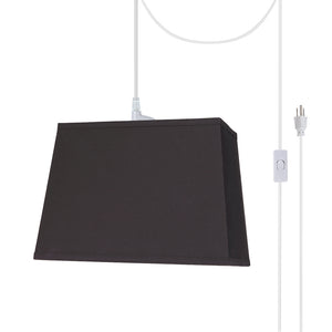 "# 76081-21 One-Light Plug-In Swag Pendant Light Conversion Kit with Transitional Hardback Rectangle Fabric Lamp Shade, Black, 14"" width"