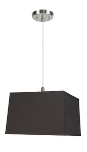 "# 76101-11 One-Light Hanging Pendant Ceiling Light with Transitional Hardback Square Fabric Lamp Shade, Black, 14"" width"