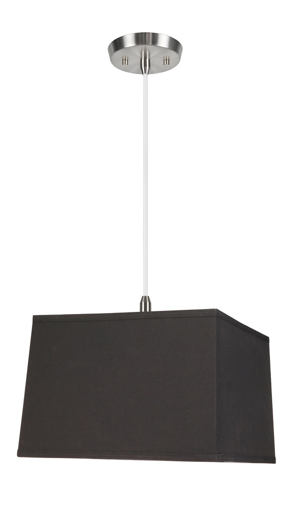 # 76101-11 One-Light Hanging Pendant Ceiling Light with Transitional Hardback Square Fabric Lamp Shade, Black, 14