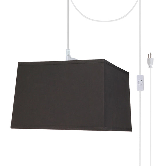 # 76101-21 One-Light Plug-In Swag Pendant Light Conversion Kit with Transitional Hardback Square Fabric Lamp Shade, Black, 14