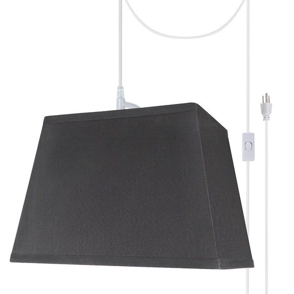 # 76121-21 One-Light Plug-In Swag Pendant Light Conversion Kit with Transitional Hardback Rectangle Fabric Lamp Shade, Black, 14-1/2