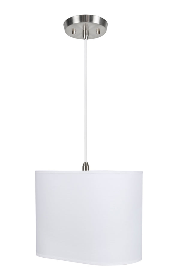 # 77001-11 One-Light Hanging Pendant Ceiling Light with Transitional Oval Hardback Fabric Lamp Shade, Off White, 13-1/2