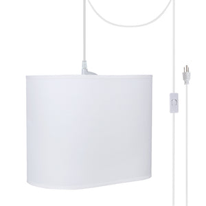 "# 77001-21 One-Light Plug-In Swag Pendant Light Conversion Kit with Transitional Hardback Oval Fabric Lamp Shade, Off White, 13-1/2"" width"