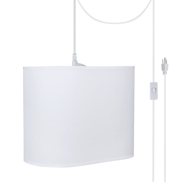# 77001-21 One-Light Plug-In Swag Pendant Light Conversion Kit with Transitional Hardback Oval Fabric Lamp Shade, Off White, 13-1/2