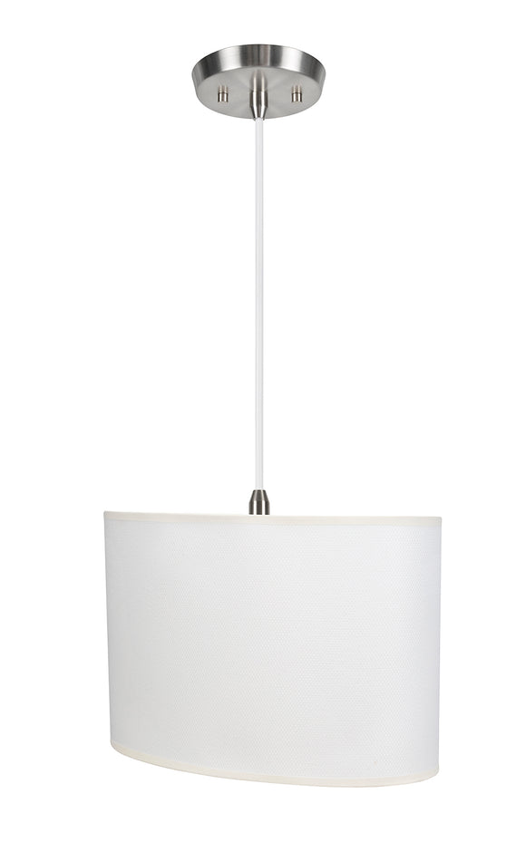# 77021-11 One-Light Hanging Pendant Ceiling Light with Transitional Oval Hardback Fabric Lamp Shade, Off White, 15-1/2