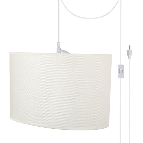 # 77021-21 One-Light Plug-In Swag Pendant Light Conversion Kit with Transitional Hardback Oval Fabric Lamp Shade, Off White, 15-1/2