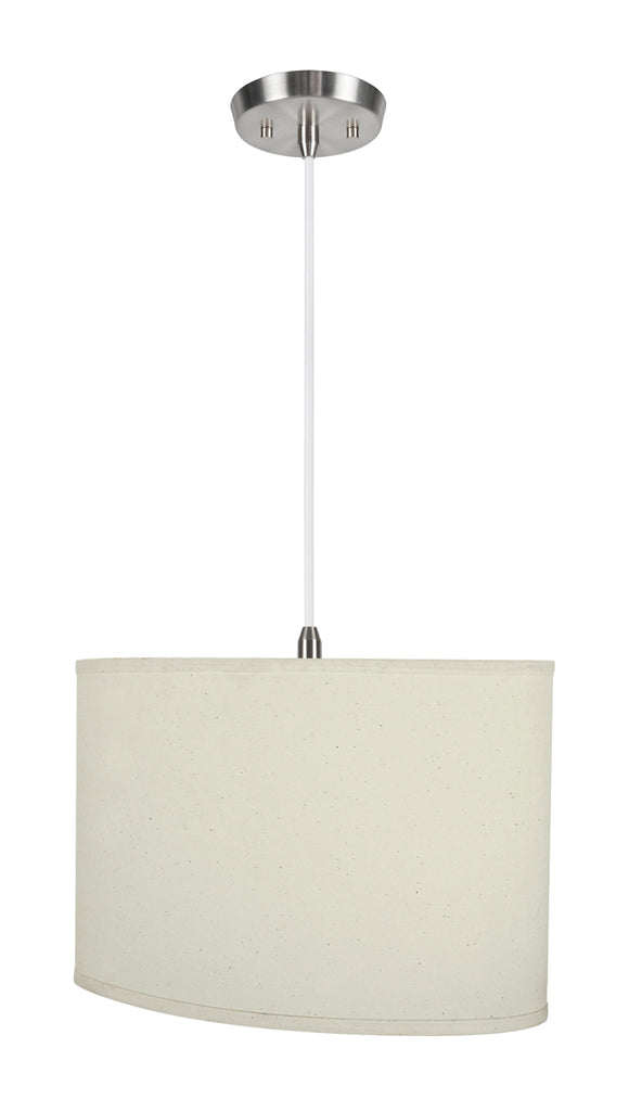# 77041-11 One-Light Hanging Pendant Ceiling Light with Transitional Oval Hardback Fabric Lamp Shade, Off White, 16-1/2