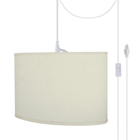 # 77041-21 One-Light Plug-In Swag Pendant Light Conversion Kit with Transitional Hardback Oval Fabric Lamp Shade, Off White, 16-1/2