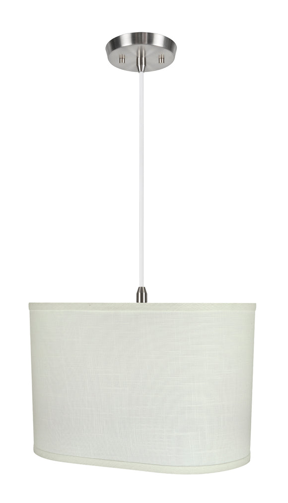 # 77051-11 One-Light Hanging Pendant Ceiling Light with Transitional Oval Hardback Fabric Lamp Shade, Off White, 16-1/2