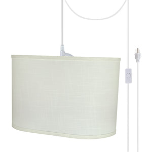 "# 77051-21 One-Light Plug-In Swag Pendant Light Conversion Kit with Transitional Hardback Oval Fabric Lamp Shade, Off White, 16-1/2"" width"
