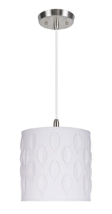 "# 79200-11 One-Light Hanging Pendant Ceiling Light with Transitional Drum Laser Cut Fabric Lamp Shade, Off White, 8"" width"