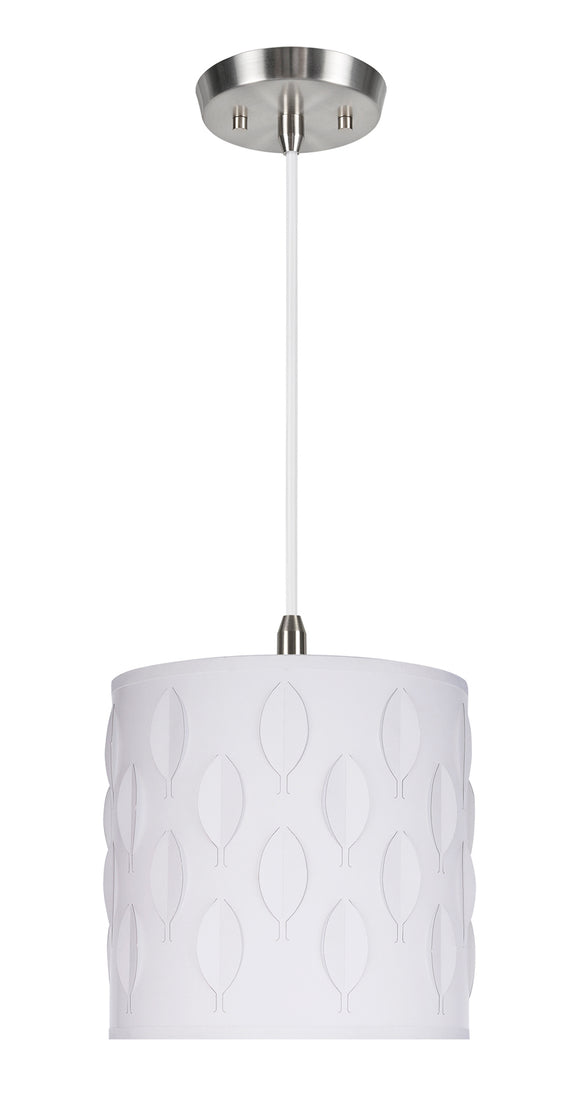 # 79200-11 One-Light Hanging Pendant Ceiling Light with Transitional Drum Laser Cut Fabric Lamp Shade, Off White, 8