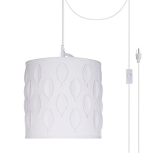 "# 79200-21 One-Light Plug-In Swag Pendant Light Conversion Kit with Transitional Drum Laser Cut Fabric Lamp Shade, Off White, 8"" width"