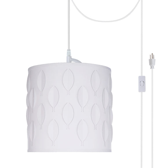# 79200-21 One-Light Plug-In Swag Pendant Light Conversion Kit with Transitional Drum Laser Cut Fabric Lamp Shade, Off White, 8