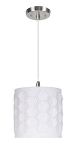 "# 79201-11 One-Light Hanging Pendant Ceiling Light with Transitional Drum Laser Cut Fabric Lamp Shade, Off White, 8"" width"