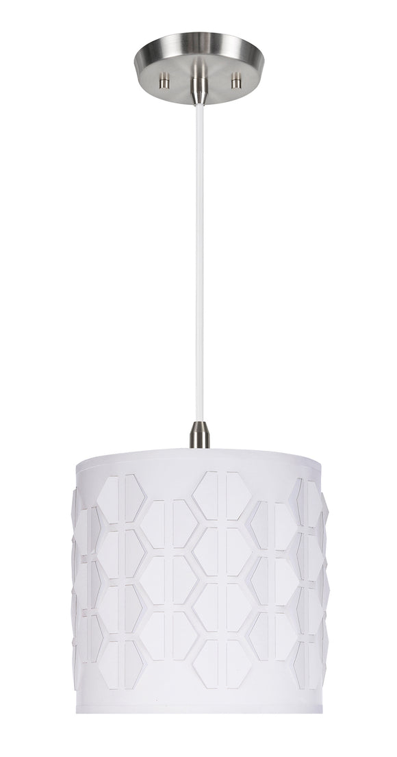 # 79201-11 One-Light Hanging Pendant Ceiling Light with Transitional Drum Laser Cut Fabric Lamp Shade, Off White, 8