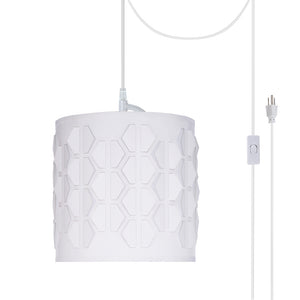 "# 79201-21 One-Light Plug-In Swag Pendant Light Conversion Kit with Transitional Drum Laser Cut Fabric Lamp Shade, Off White, 8"" width"