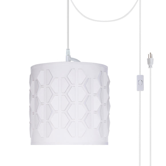 # 79201-21 One-Light Plug-In Swag Pendant Light Conversion Kit with Transitional Drum Laser Cut Fabric Lamp Shade, Off White, 8