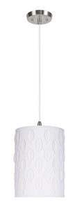 "# 79221-11 One-Light Hanging Pendant Ceiling Light with Transitional Drum Laser Cut Fabric Lamp Shade, Off White, 8"" width"