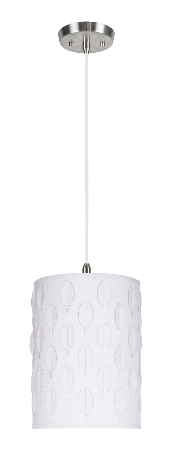 # 79221-11 One-Light Hanging Pendant Ceiling Light with Transitional Drum Laser Cut Fabric Lamp Shade, Off White, 8