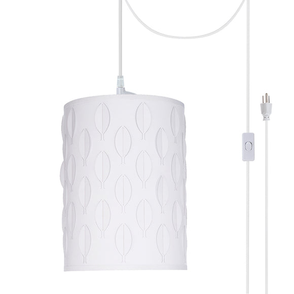 # 79221-21 One-Light Plug-In Swag Pendant Light Conversion Kit with Transitional Drum Laser Cut Fabric Lamp Shade, Off White, 8