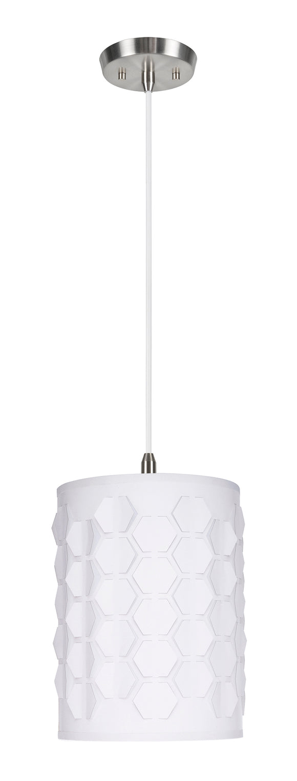 # 79222-11 One-Light Hanging Pendant Ceiling Light with Transitional Drum Laser Cut Fabric Lamp Shade, Off White, 8