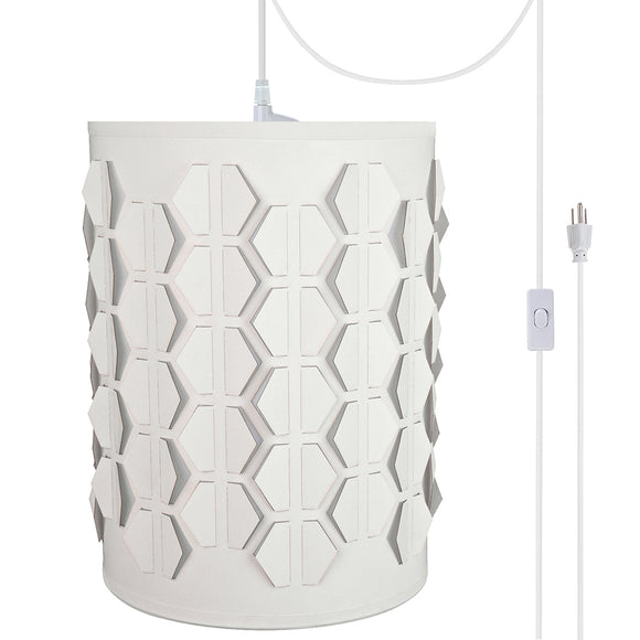 # 79222-21 One-Light Plug-In Swag Pendant Light Conversion Kit with Transitional Drum Laser Cut Fabric Lamp Shade, Off White, 8