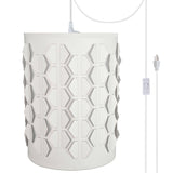 "# 79222-21 One-Light Plug-In Swag Pendant Light Conversion Kit with Transitional Drum Laser Cut Fabric Lamp Shade, Off White, 8"" width"