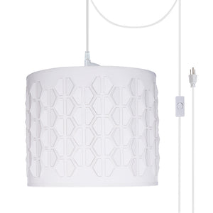 "# 79241-21 One-Light Plug-In Swag Pendant Light Conversion Kit with Transitional Drum Laser Cut Fabric Lamp Shade, Off White, 12"" width"