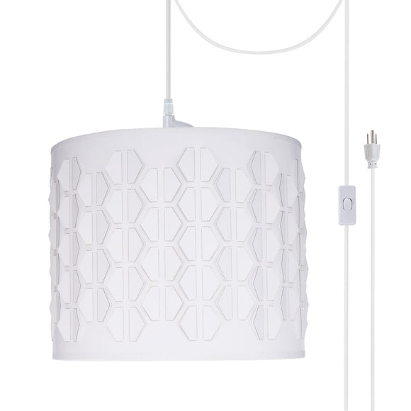 # 79241-21 One-Light Plug-In Swag Pendant Light Conversion Kit with Transitional Drum Laser Cut Fabric Lamp Shade, Off White, 12