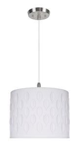 "# 79261-11 One-Light Hanging Pendant Ceiling Light with Transitional Drum Laser Cut Fabric Lamp Shade, Off White, 14"" width"