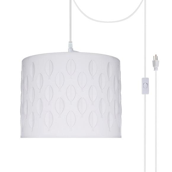 # 79261-21 One-Light Plug-In Swag Pendant Light Conversion Kit with Transitional Drum Laser Cut Fabric Lamp Shade, Off White, 14