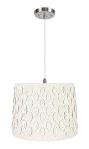 "# 79301-11 Two-Light Hanging Pendant Ceiling Light with Transitional Empire Laser Cut Fabric Lamp Shade, Off White, 16"" width"