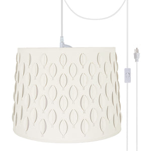 "# 79301-21 Two-Light Plug-In Swag Pendant Light Conversion Kit with Transitional Empire Laser Cut Fabric Lamp Shade, Off White, 16"" width"