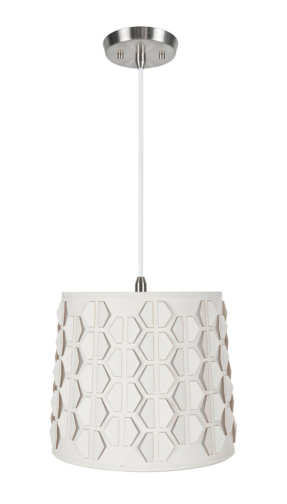 # 79321-11 One-Light Hanging Pendant Ceiling Light with Transitional Empire Fabric Lamp Shade, Off White, 10-1/2