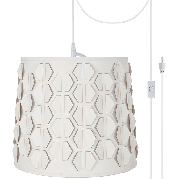 # 79321-21 One-Light Plug-In Swag Pendant Light Conversion Kit with Transitional Empire Laser Cut Fabric Lamp Shade, Off White, 10-1/2