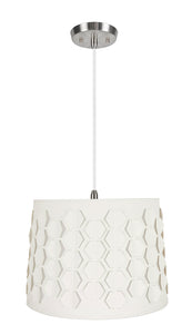 "# 79341-11 One-Light Hanging Pendant Ceiling Light with Transitional Empire Fabric Lamp Shade, Off White, 14"" width"