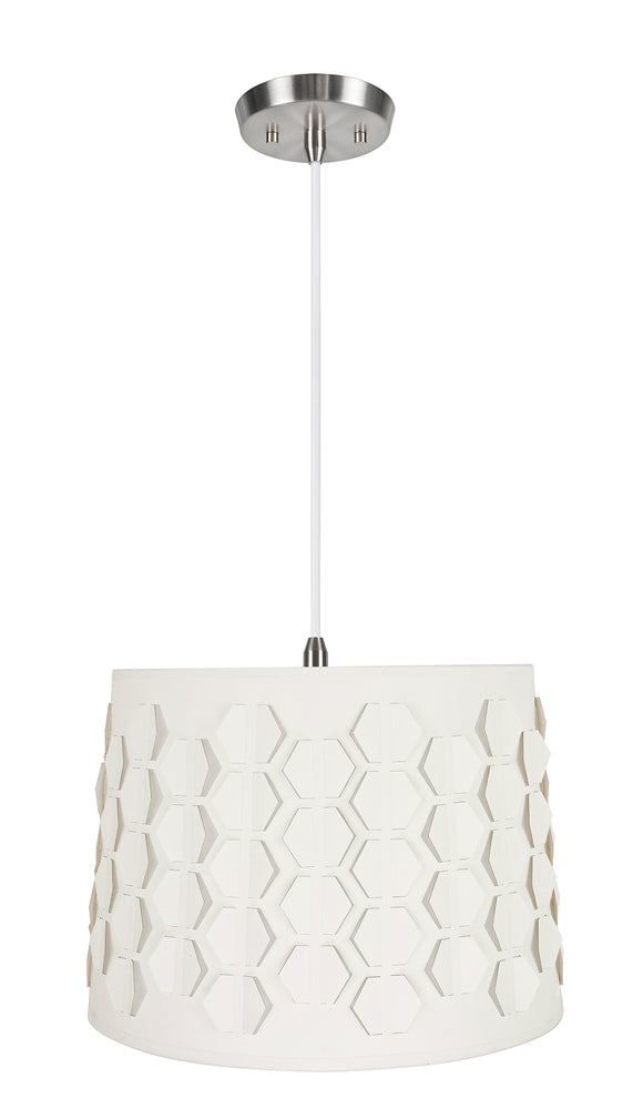 # 79341-11 One-Light Hanging Pendant Ceiling Light with Transitional Empire Fabric Lamp Shade, Off White, 14