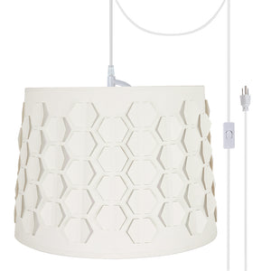 "# 79341-21 One-Light Plug-In Swag Pendant Light Conversion Kit with Transitional Empire Laser Cut Fabric Lamp Shade, Off White, 14"" width"