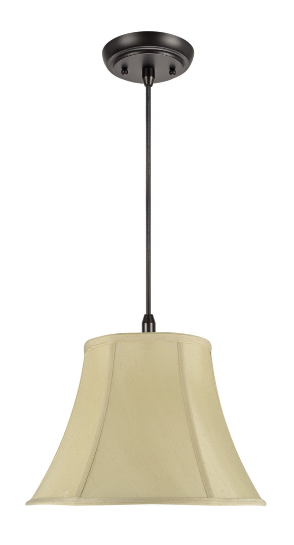 # 70016  1-Light Hanging Pendant Ceiling Light with Transitional Bell Fabric Lamp Shade in Sateen Textured Ivory, 13