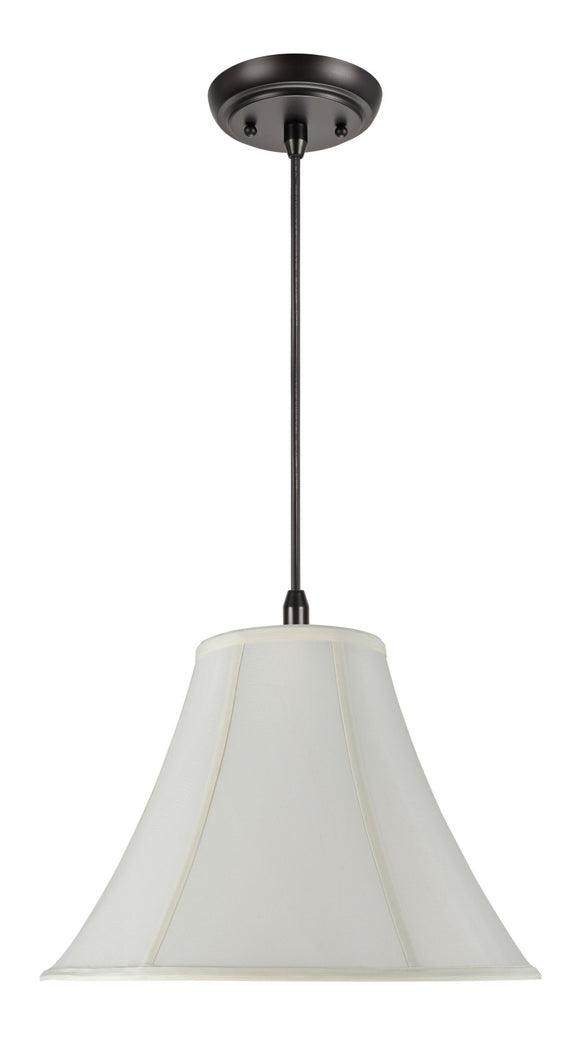 # 70019 1-Light Hanging Pendant Ceiling Light with Transitional Bell Fabric Lamp Shade, in Off White Faux Silk, 16