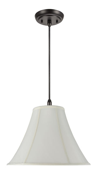 "# 70019 1-Light Hanging Pendant Ceiling Light with Transitional Bell Fabric Lamp Shade, in Off White Faux Silk, 16"" W"