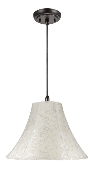 "# 70020 1-Light Hanging Pendant Ceiling Light with Transitional Bell Fabric Lamp Shade, in Textured Off White, 16"" W"