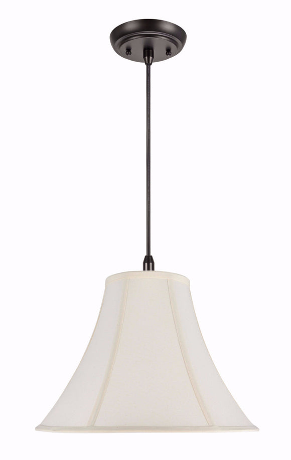 # 70031  1-Light Hanging Pendant Ceiling Light with a Transitional Bell Fabric Lamp Shade in Ivory Cotton Fabric, 16