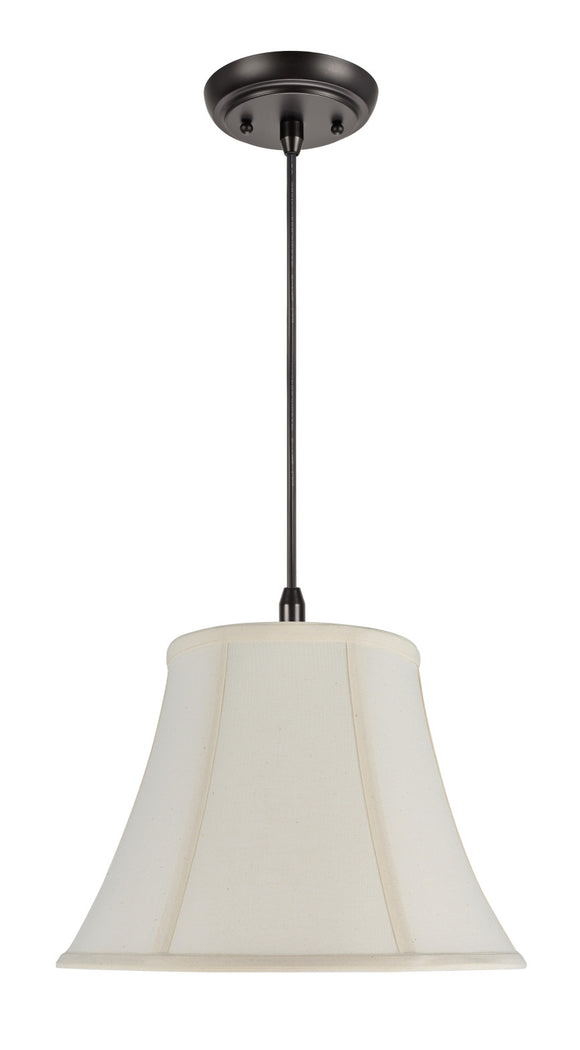 # 70032 1-Light Hanging Pendant Ceiling Light with Transitional Bell Fabric Lamp Shade in Ivory Cotton Fabric, 13