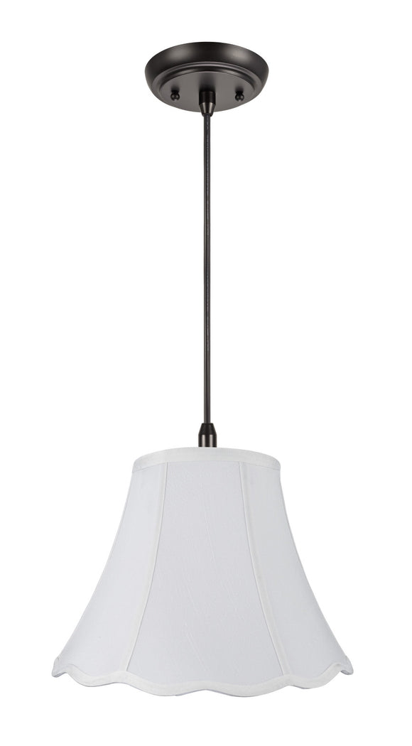 # 70037 1-Light Hanging Pendant Ceiling Light with Transitional Hexagon Scallop Bell Fabric Lamp Shade in White LInen, 12