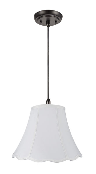 "# 70037 1-Light Hanging Pendant Ceiling Light with Transitional Hexagon Scallop Bell Fabric Lamp Shade in White LInen, 12"" W"