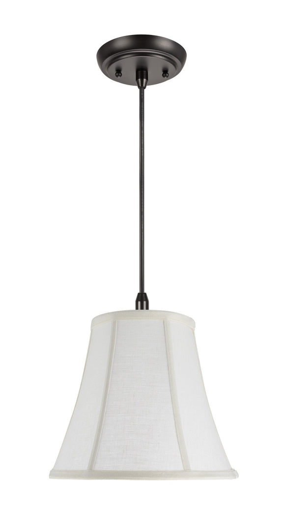 # 70040  1-Light Hanging Pendant Ceiling Light with Transitional Bell Fabric Lamp Shade in an Off White Linen, 11