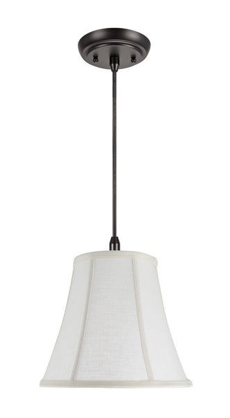 "# 70040  1-Light Hanging Pendant Ceiling Light with Transitional Bell Fabric Lamp Shade in an Off White Linen, 11"" Wide"