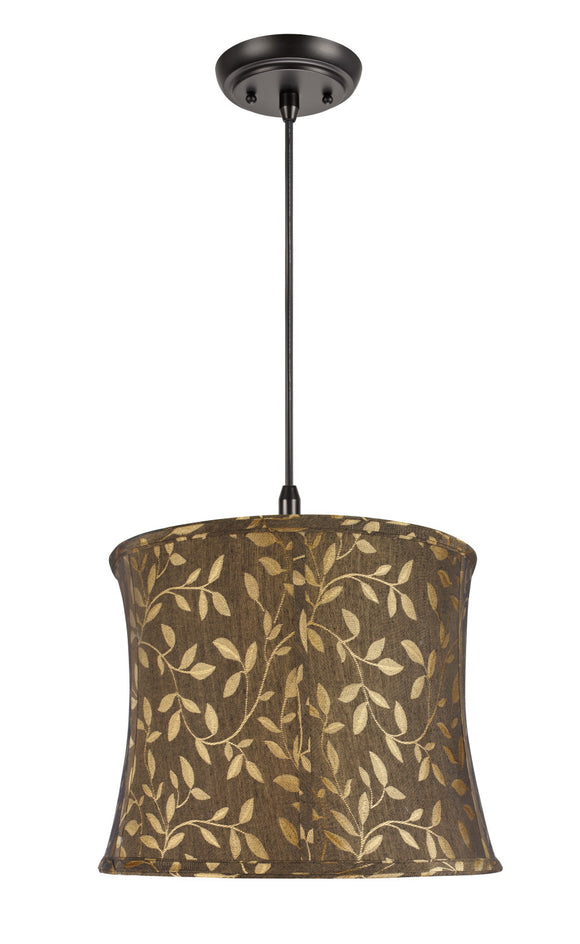 # 70041 1-Light Hanging Pendant Ceiling Light with Transitional Bell Fabric Lamp Shade, Brown Textured Fabric, 14